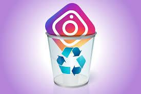 Instagram-Icon im Mülleimer